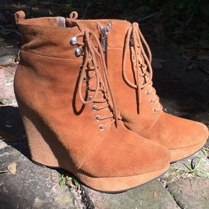 Michael Kors Cognac Suede Wedge Laced Boots